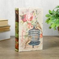 Сейф-книга Птица, Клетка, Цветы (17 см)