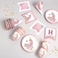 Набор бумажной посуды Единорог с цветами (4 в 1)