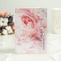 Шоколадная открытка Любимой маме (цветы и кружево)