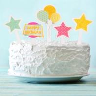 Топпер в торт С Днем Рождения (набор 10 шт)